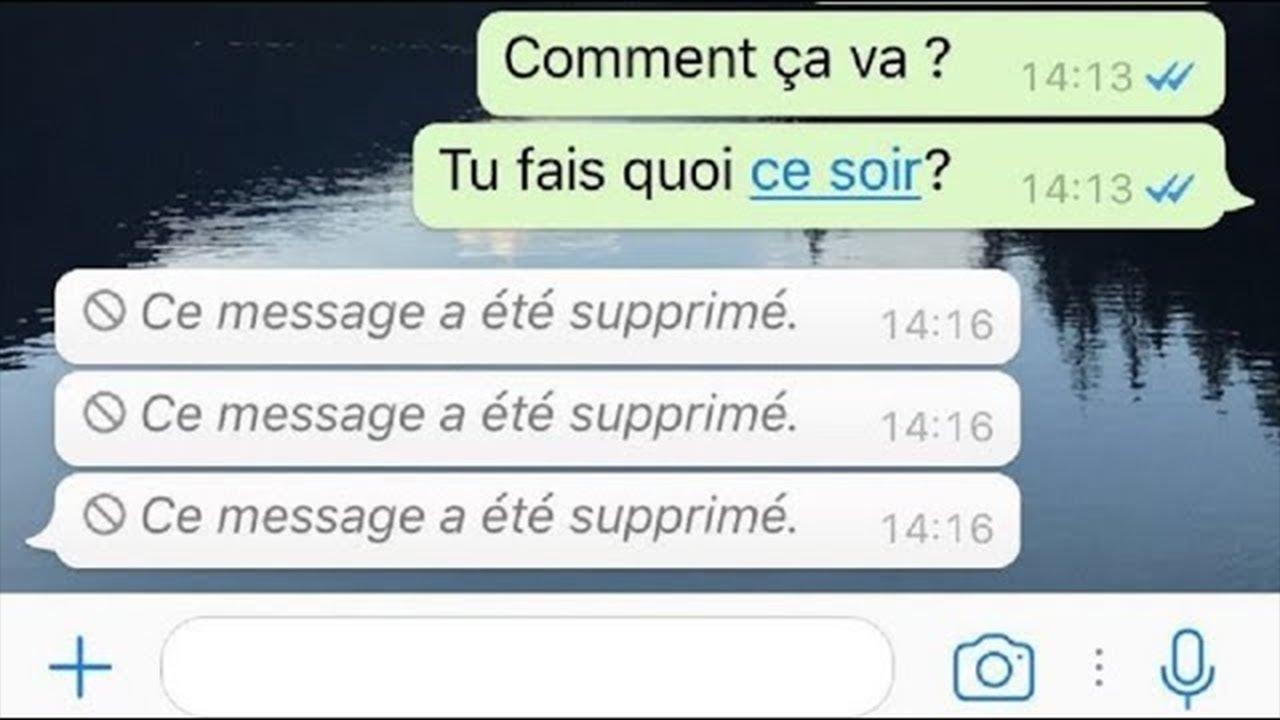 message supprimé sur Whatsapp