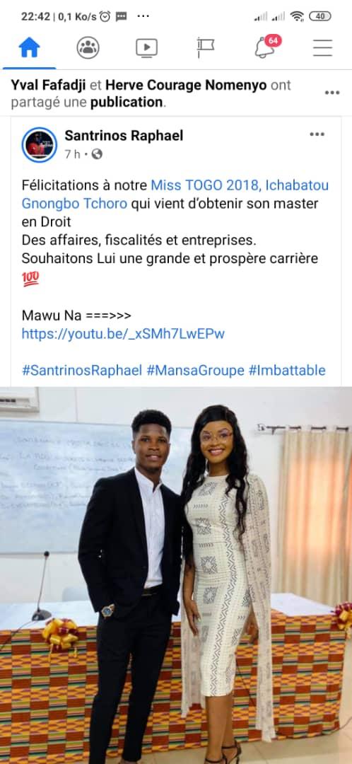 Miss Togo 2018 : Ichabatou Gnongbo Tchoro