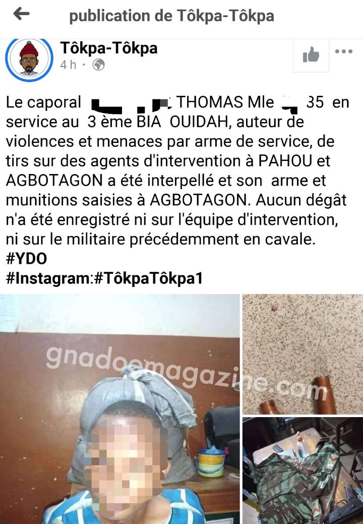 Bénin : le militaire qui a tiré sur des policiers hier est finalement arrêté