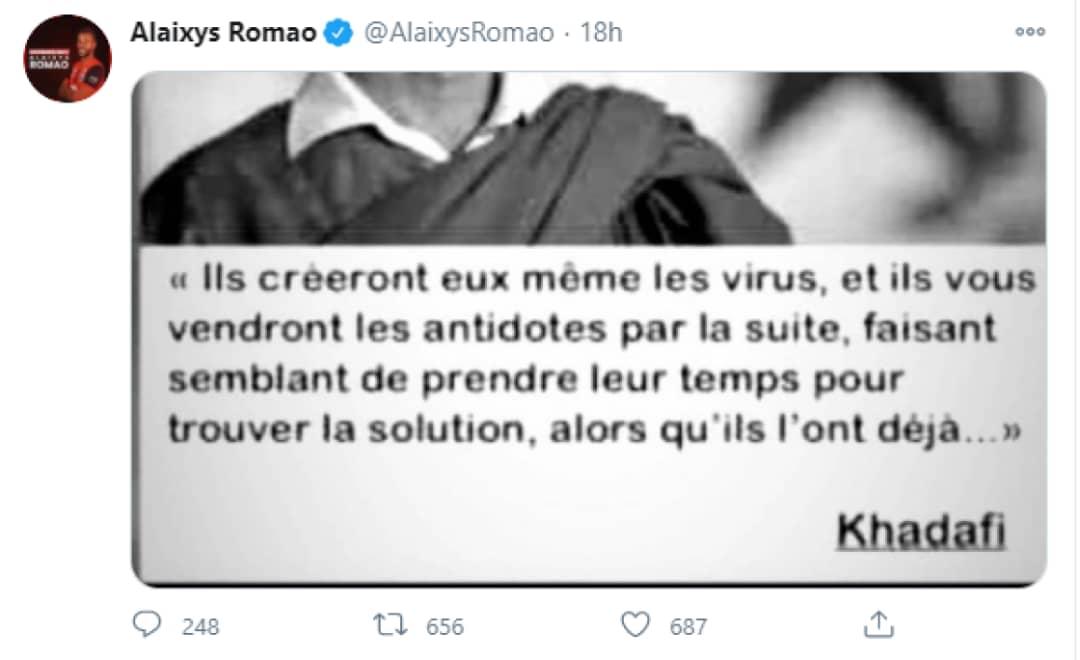Alaixys Romao convoqué pour un tweet à polémique sur Khadafi