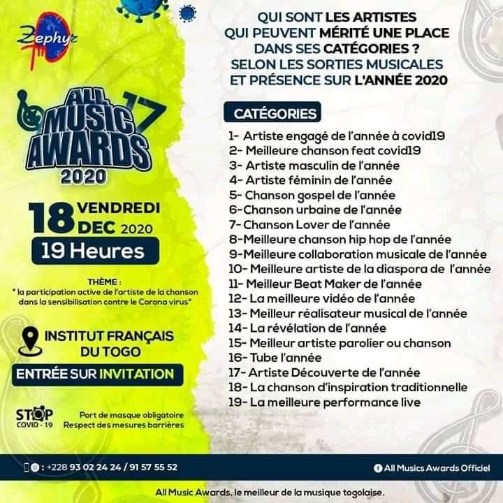 Togo All Music Awards : découvrez les nouvelles catégories ajoutées à cette 17 ème édition