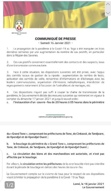 Couvre-feu Togo