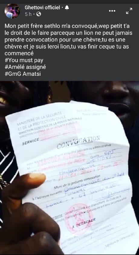Togo/Clash : Ghettovi reçoit une convocation après son altercation avec Sethlo