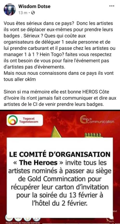 The Heroes 228 : l'animateur Wisdom Dotse tacle sévèrement les organisateurs