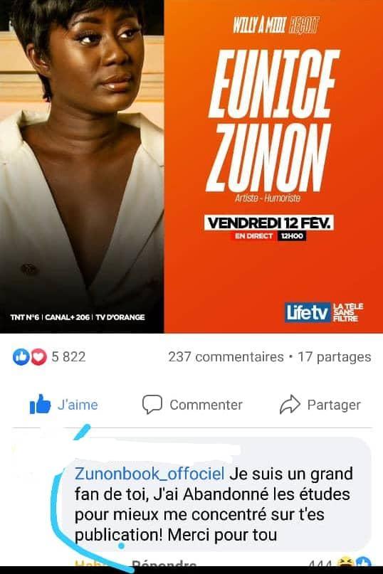 Eunice Zunon : un fan décide de laisser tomber ses études pour mieux commenter ses publications