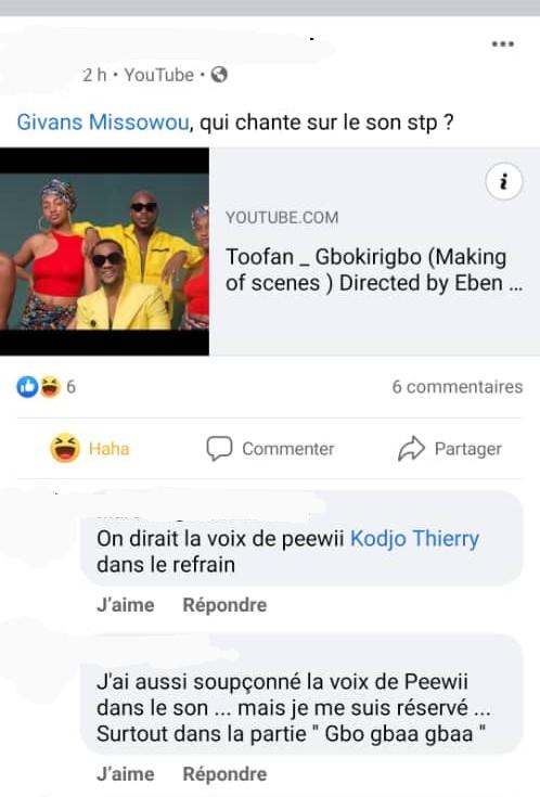Toofan/Gbokirigbo : Peewii suspecté d'avoir chanté le refrain
