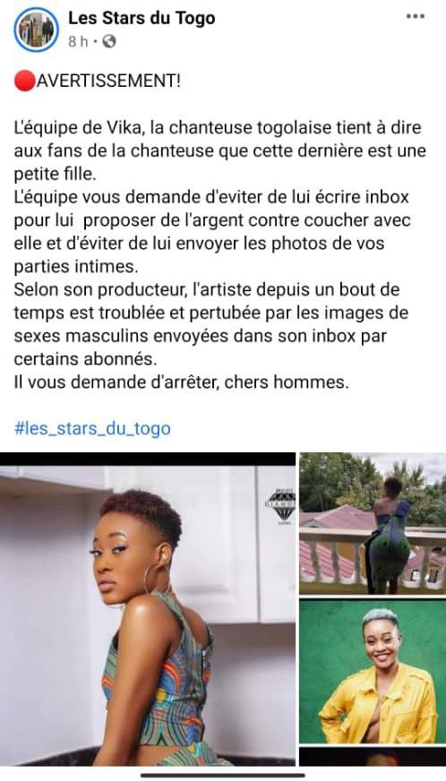 Togo : Vika harcelée s€xuellement, son staff crie son ras-le-bol