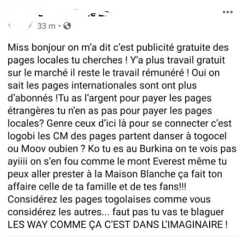 Togo : Senzaa se fait lyncher sur la toile pour son message à l'endroit des pages togolaises