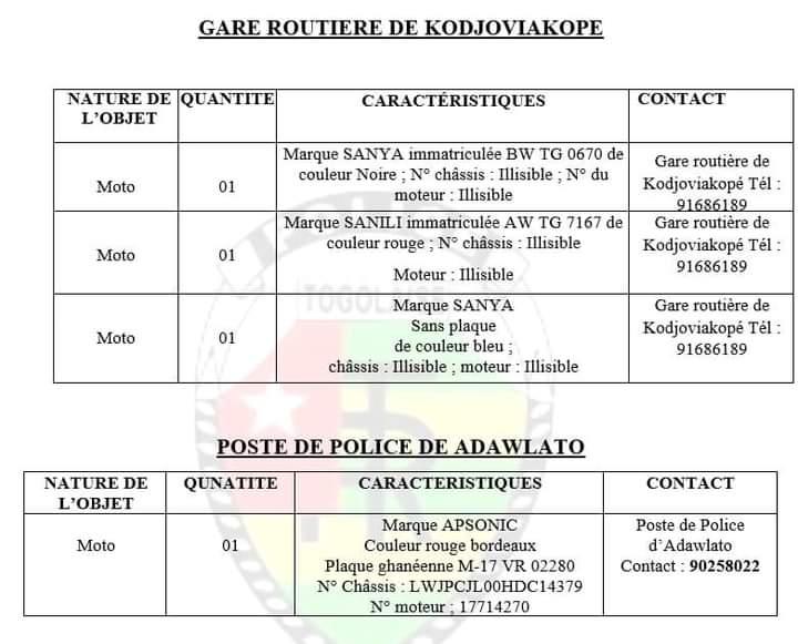 Togo/ Vol: la liste des motos récupérées