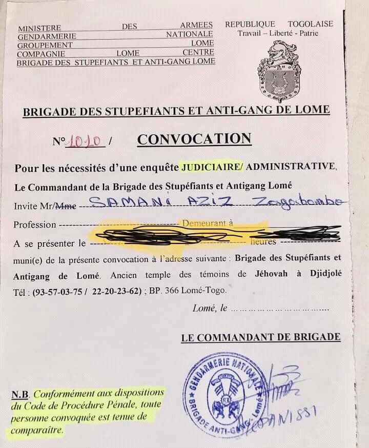 Zaga Bambo : l'artiste convoqué par la Brigade des stupéfiants et anti-gang de Lomé (photo)