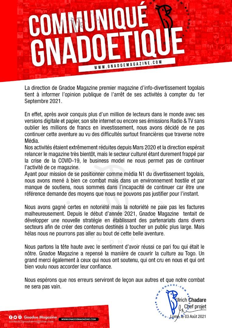 Gnadoe Magazine, c'est fini! Le magazine d'info-divertissement N1 du Togo ferme ses portes